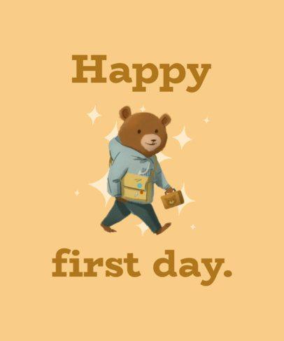 Preschool T-Shirt Design Template Featuring a Happy Bear 1520b