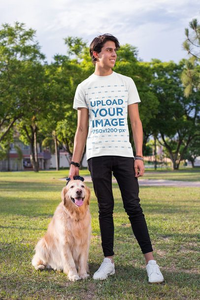 T-Shirt Mockup of a Man with His Dog at a Park 28051