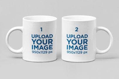 Mockup of Two 11 oz Coffee Mugs Side by Side 28264