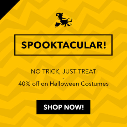 Online Banner Template for a Discount on Halloween Costumes 745h