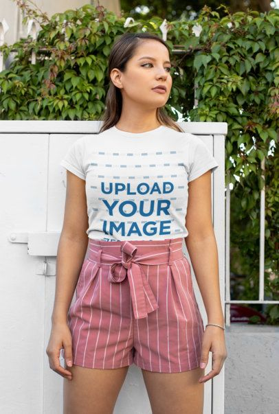 Mockup of a Woman Wearing a Tucked T-Shirt with Shorts 28201