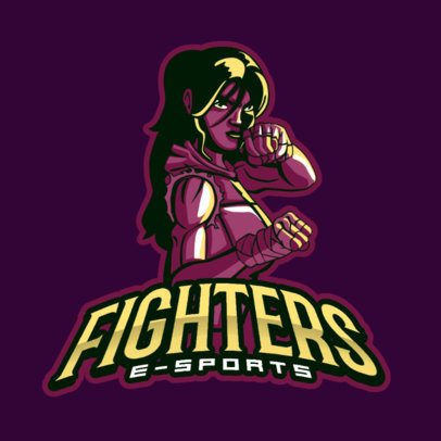 Fighting Gaming Logo Maker Featuring a Female Character 383w-2284