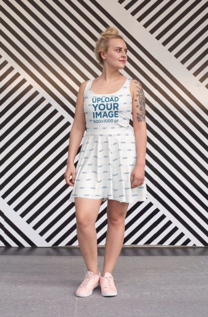 Skater Dress Mockup of a Woman Standing in Front of a Striped Wall 28005