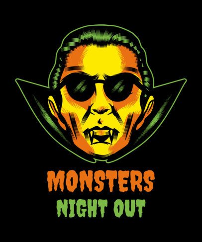 Halloween T-Shirt Design Maker Featuring a Dracula Clipart 1567