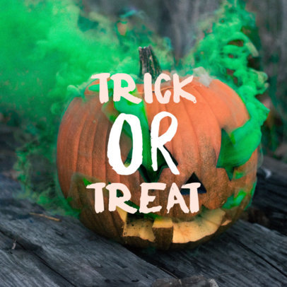 Halloween Instagram Post Maker Featuring a Carved Pumpkin 564l
