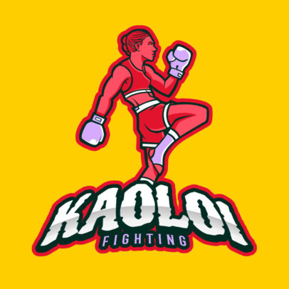 Gaming Logo Template Featuring a Female Boxing Athlete 383i