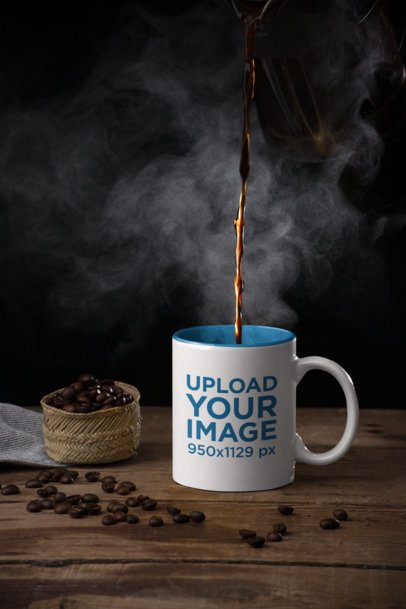 Mockup of an 11 oz Coffee Mug Next to Some Coffee Beans 28182