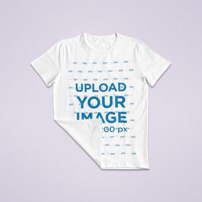 Mockup of a Flat Laid T-Shirt with a Folded Corner 96-el