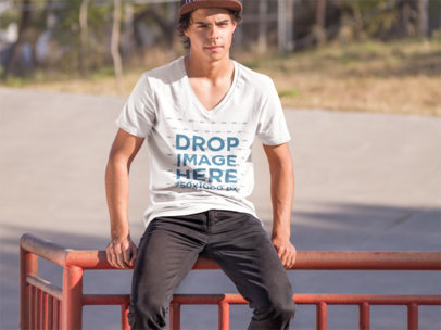 Handsome Young Man at a Skate Park T-Shirt Mockup a8930