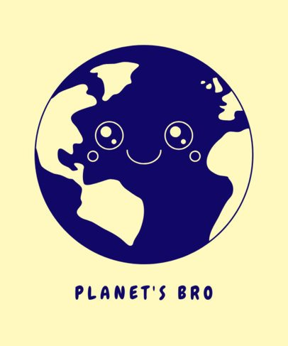 T-Shirt Maker with a Sweet Illustration of Planet Earth 1562a