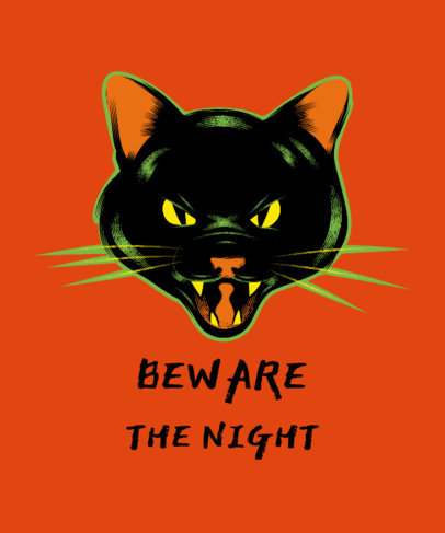T-Shirt Design Generator for Halloween Season Featuring a Scary Cat 1567f