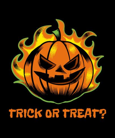 T-Shirt Design Template Featuring a Flaming Halloween Pumpkin 1567h