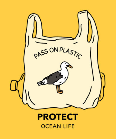 T-Shirt Design Maker for an Anti-Plastic Message with a Seagull Graphic 1559b