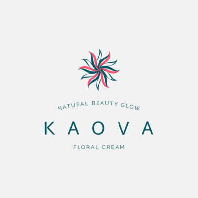 Cosmetics Logo Template with a Floral Illustration 2213f