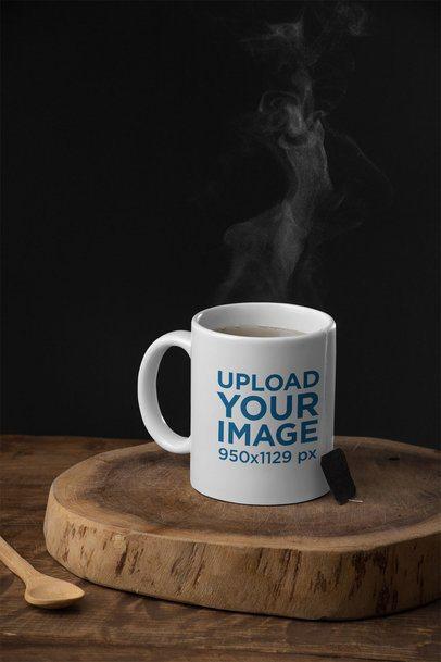 11 oz Mug Mockup Featuring a Rustic Setting 28184
