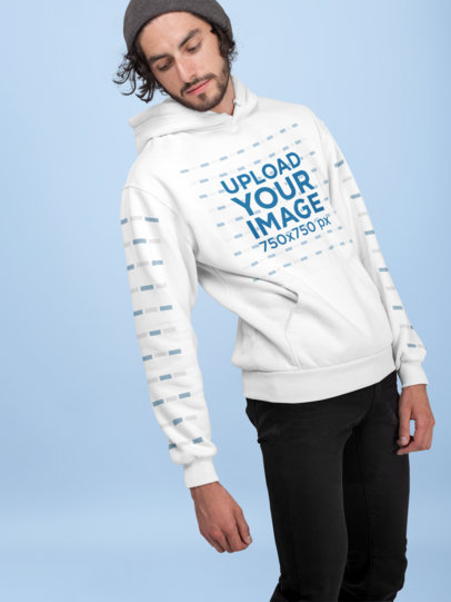 Pullover Hoodie Mockup of a Man with a Beanie 28313