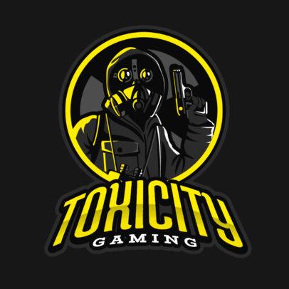 Gaming Logo Template Featuring a Gunman Wearing a Respirator Mask 383n 2290