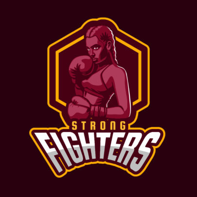 Gaming Logo Maker Featuring a Female Boxing Fighter 336f