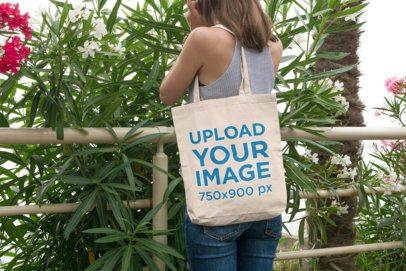 Tote Bag Mockup of a Woman Enjoying Nature 106-el