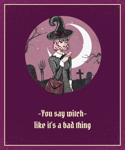Funny T-Shirt Design Template Featuring a Witch 1569d