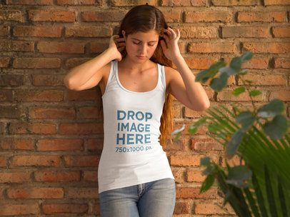 Girl Leaning Against a Brick Wall Tank Top Mockup 9043f
