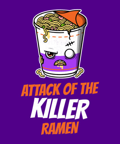 Halloween T-Shirt Design Maker with a Kawaii Ramen Cup 1563b