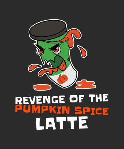 Kawaii-Style T-Shirt Design Template with an Angry Pumpkin Spice Bottle 1563h