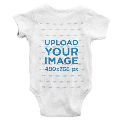 Back View Mockup Featuring a Onesie Lying on a Solid Color Surface 227-el
