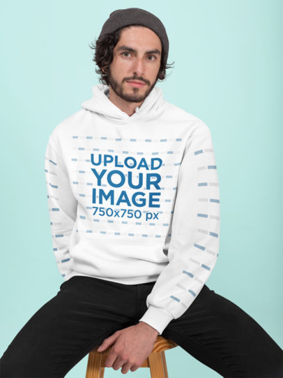 Pullover Hoodie Mockup Featuring a Bearded Man with a Beanie 28312