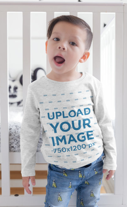 Long Sleeve T-Shirt Mockup of a Kid with a Funny Face 28084