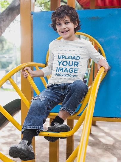 Heathered Long Sleeve T-Shirt Mockup of a Boy Playing at the Park 28114