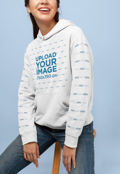 Pullover Hoodie Mockup of a Happy Young Woman at a Studio 28314