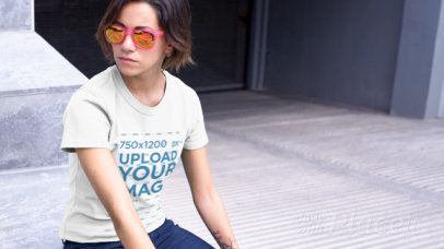 T-Shirt Video of a Cool Young Woman Chilling Next to a Parking Entrance 12151