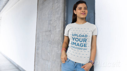 T-Shirt Video of a Woman Posing in a Hallway 12981