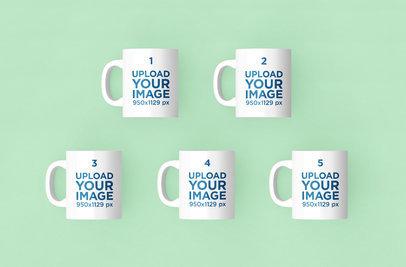 Render Mockup of Five 11 oz Coffee Mugs Over a Solid Color Background 204-el