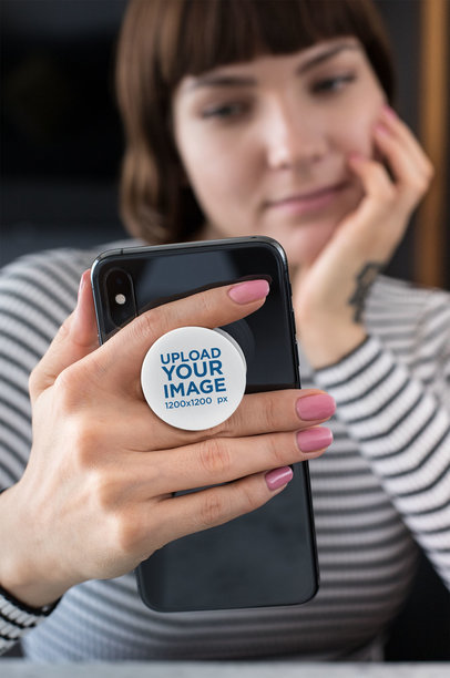 Phone Grip Mockup of a Woman Leaning on Her Hand 28159