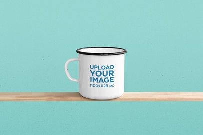 Mockup of a 12 oz Enamel Mockup Over a Narrow Wooden Plank 181-el