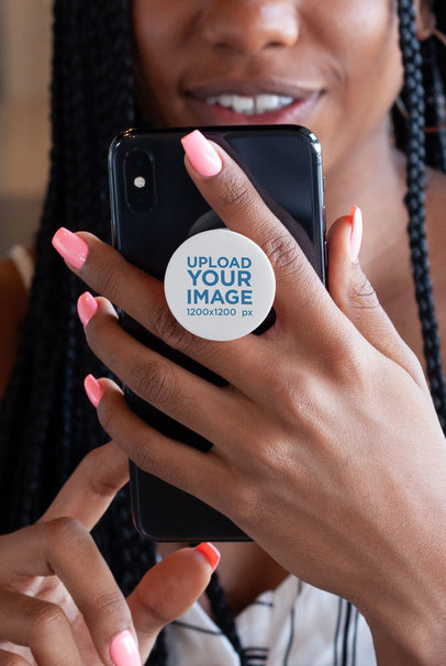 Phone Grip Mockup of a Woman Holding Her Phone 28166