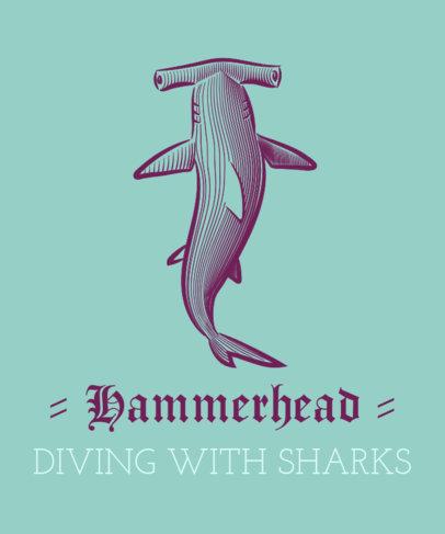 T-Shirt Design Template Featuring a Hammerhead Shark 1598c