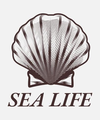 Sea Life T-Shirt Design Maker Featuring a Shell 1598f