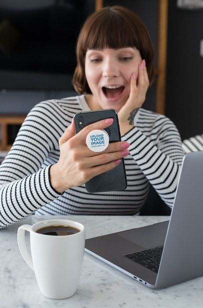 Phone Grip Mockup of a Surprised Woman Looking at Her Phone 28158