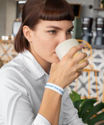 Paper Wristband Mockup of a Woman Drinking Coffee 28217