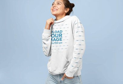 Pullover Hoodie Mockup of a Smiling Woman with a Messy Bun 28317