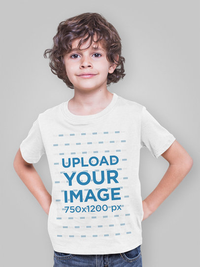 T-Shirt Mockup of a Boy Posing in a Studio 28119