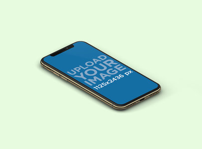 Mockup of an iPhone X in Portrait Position Over a Plain Background 132-el