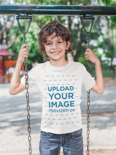 T-Shirt Mockup of a Boy Playing on a Swing 28124