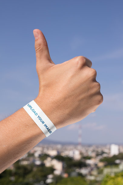 Paper Wristband Mockup of a Hand Giving Thumbs Up 28251