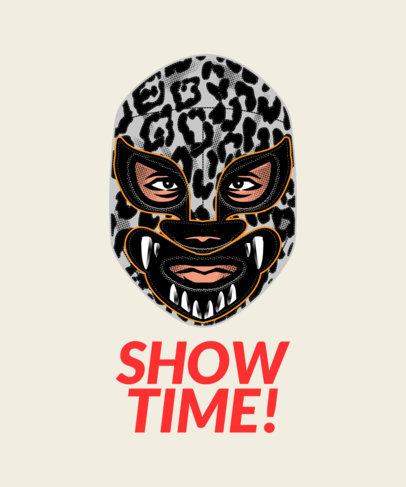 T-Shirt Design Maker Featuring Wrestling Masks Clipart 1640