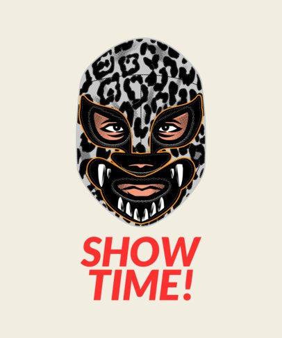 T-Shirt Design Maker Featuring Wrestling Masks Clipart 1640