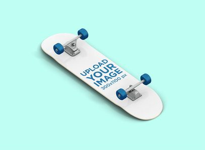 Render Mockup of a Skateboard Against a Solid Color Background 381-el
